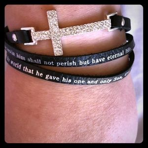 Jewelry - New John 3:16 Leather Cross Wrap Bracelet